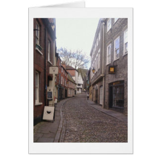 Elm Hill, Norwich on a grey day in April Card