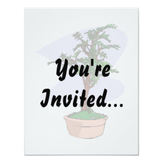Elm Like Bonsai Tree Pink Pot 11 Cm X 14 Cm Invitation Card