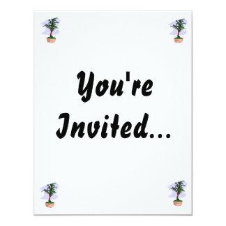 Elm Like Bonsai Tree Pink Pot 4.25x5.5 Paper Invitation Card