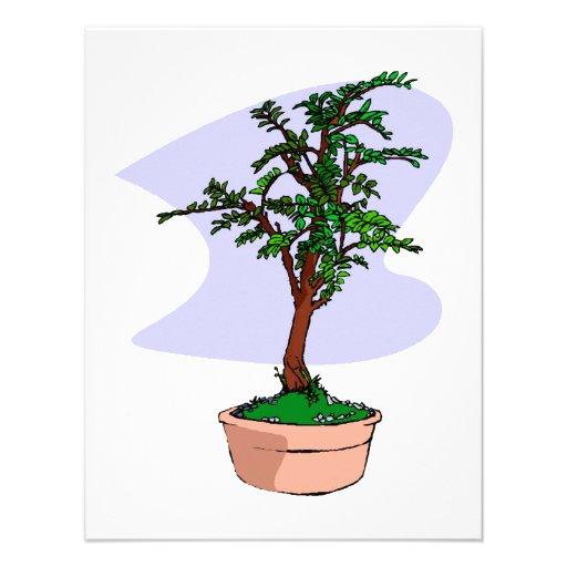 Elm Like Bonsai Tree Pink Pot Personalized Invites