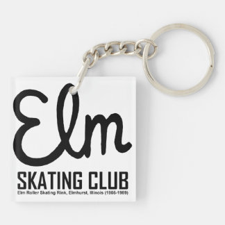 Elm Skating Club, Elmhurst, Illinois Double-Sided Square Acrylic Key Ring