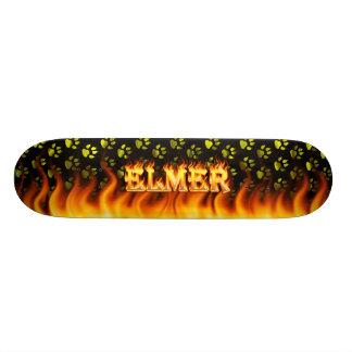Elmer skateboard fire and flames design.