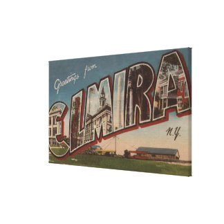 Elmira, New York - Large Letter Scenes 2 Stretched Canvas Print