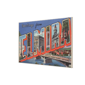 Elmira, New York - Large Letter Scenes Canvas Print