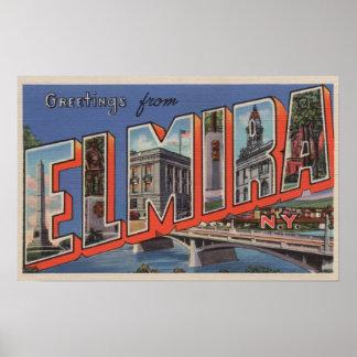 Elmira, New York - Large Letter Scenes Poster