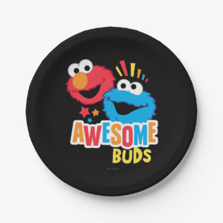 Elmo and Cookie Awesome Buds Paper Plate