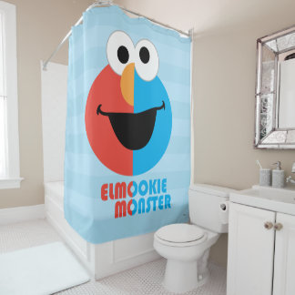Elmo and Cookie Half Face Shower Curtain