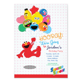 Elmo and Pals Birthday Balloons 11 Cm X 16 Cm Invitation Card