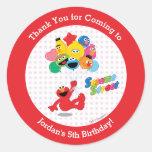 Elmo and Pals Birthday Balloons Round Sticker