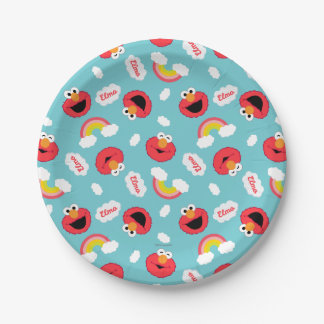 Elmo and Rainbows Pattern Paper Plate