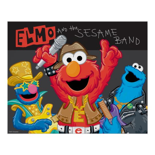 Elmo and the Sesame Band Rock Poster