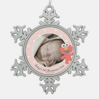 Elmo | Baby's First Christmas - Add Your Name Pewter Snowflake Decoration