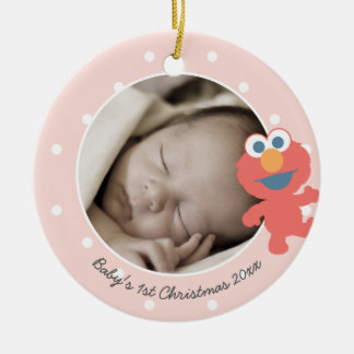 Elmo | Baby's First Christmas - Add Your Name Round Ceramic Decoration