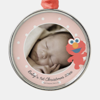 Elmo | Baby's First Christmas - Add Your Name Silver-Colored Round Decoration