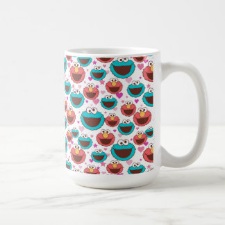 Elmo & Cookie Monster | Peace & Love Pattern Coffee Mug