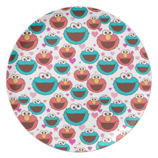 Elmo & Cookie Monster | Peace & Love Pattern Plate