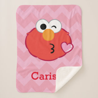Elmo Face Throwing a Kiss | Add Your Name Sherpa Blanket