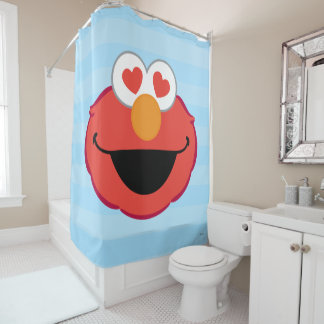 Elmo Smiling Face with Heart-Shaped Eyes Shower Curtain