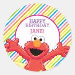 Elmo Striped Birthday Round Sticker