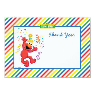Elmo Striped Birthday Thank You Cards