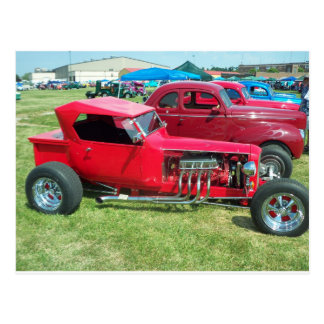 Elongated Red Hot Rod Post Card