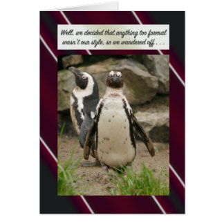 Elopement Announcement Penguin Style Greeting Card