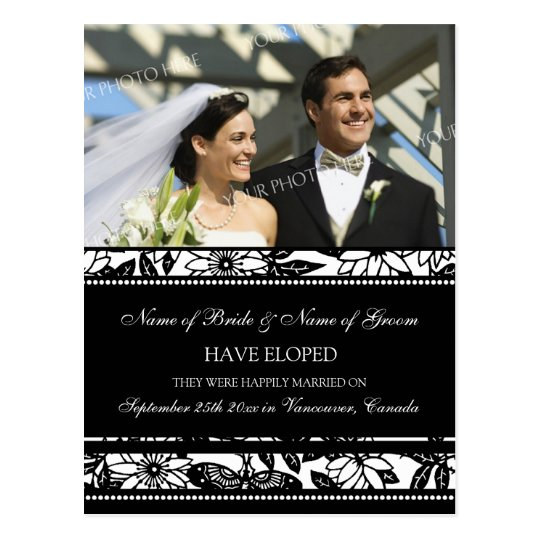 Elopement Announcement Photo Postcards Black White
