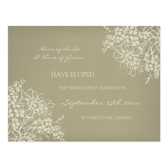 Elopement Announcement Postcards Vintage Floral
