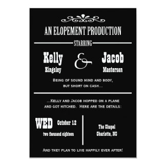 Elopement Wedding Marriage Announcement Invitation
