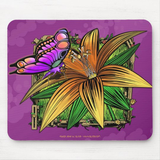 Elorai the Butterfly on Flower Mouse Pad