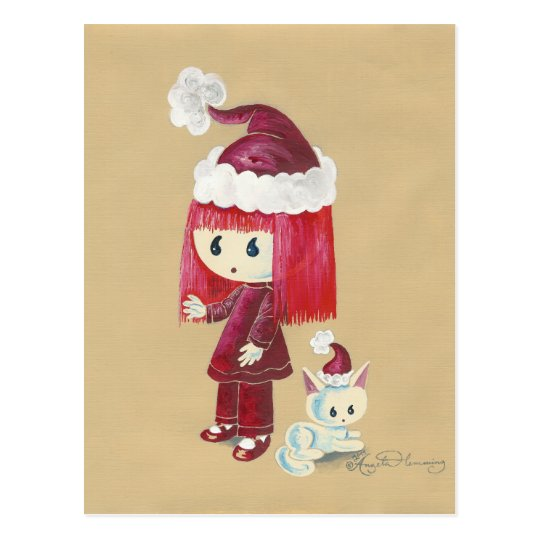 Elsie The Christmas Elfie Painting Postcard