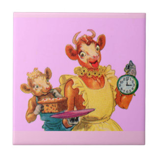 Elsie the Cow and daughter Beulah - It's Cake Time Tile
