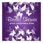Elusive Butterflies Purple Bridal Shower 13 Cm X 13 Cm Square Invitation Card
