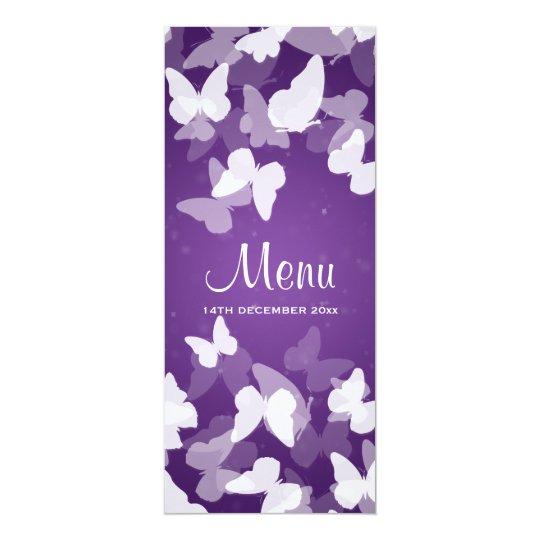 Elusive Butterflies Purple Wedding Menu Card
