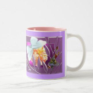 Elve with ladybirds Two-Tone coffee mug