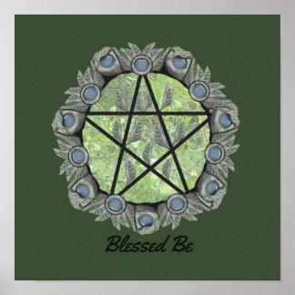 Elvenwood Pentacle Choose Your BG. Col. Altar Art Poster