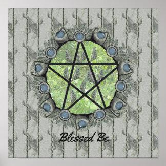Elvenwood Pentacle Green Leaf BG. Altar Art Poster