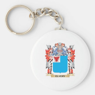 Elvery Coat of Arms - Family Crest Basic Round Button Key Ring