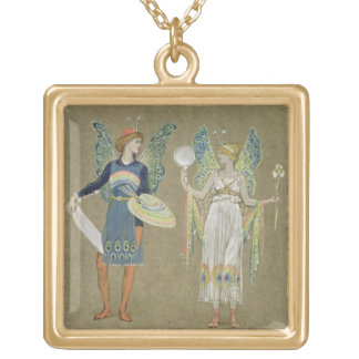 Elves and Fairy Painters, from 'The Snowman' 1899 Gold Plated Necklace