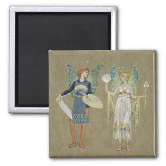 Elves and Fairy Painters, from 'The Snowman' 1899 Square Magnet