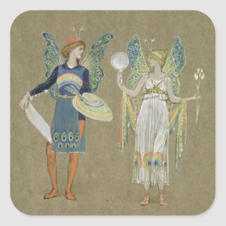 Elves and Fairy Painters, from 'The Snowman' 1899 Square Sticker