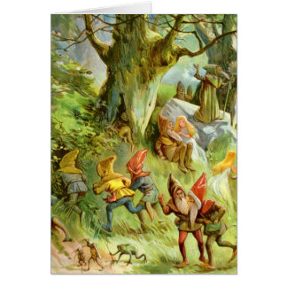 Elves and Gnomes in the Deep Dark Magical Forest Card