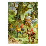 Elves and Gnomes in the Deep Dark Magical Forest Greeting Card