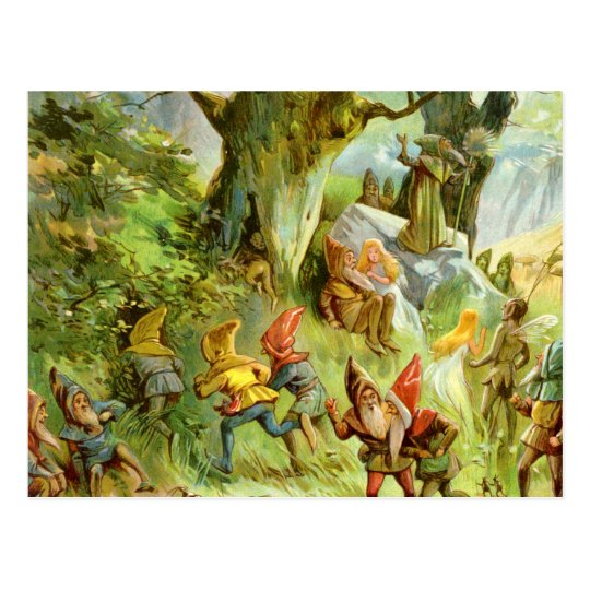 Elves and Gnomes in the Deep Dark Magical Forest Postcard