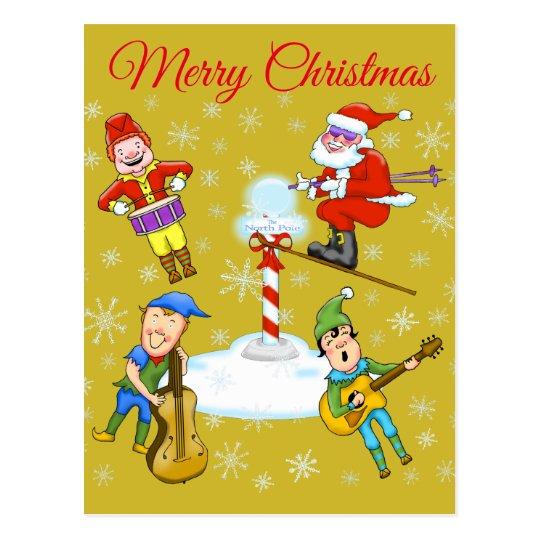 Elves and Santa Christmas postcard
