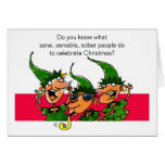 Elves Humourous Christmas Card