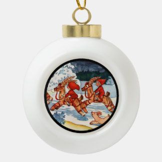Elves Racing Yule Goats Ceramic Ball Decoration