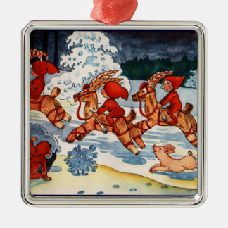 Elves Racing Yule Goats! Silver-Colored Square Decoration