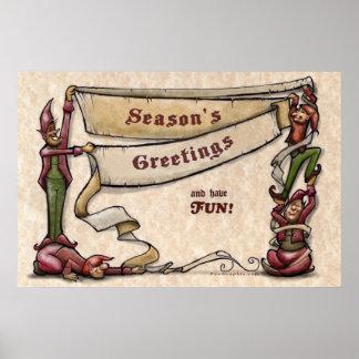 Elves Season s Greetings Poster