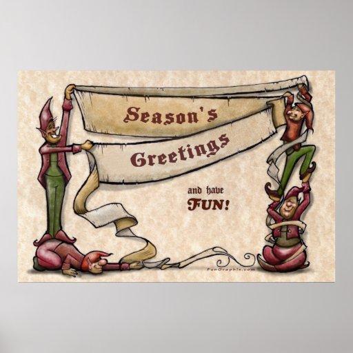 Elves Season's Greetings Poster